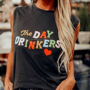 Fun and Funny Black Day Drinkers Tank Top.